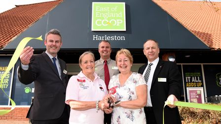 Store Manager Steve Charlton, Annie Chapman BEM, Assistant Manager Ryan Pharoah, Carol Wiles MBE and