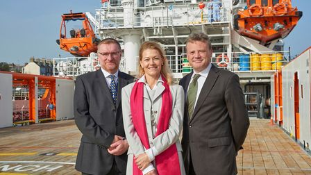Celebrating the naming of Forties Sentinel are, from left, Rory Deans, chief executive of Sentinel M