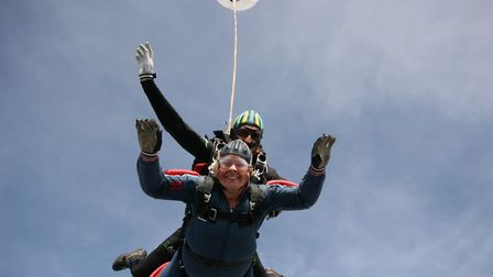 Karen Fulcher lost enough weight to be able to skydive for charity. Picture: Yo Lee