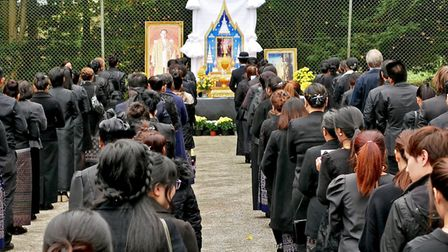 ThaiTemple, WAT ARUN, Weston Longville, marking the Funeral in Bangkok of the late King of Thailand.