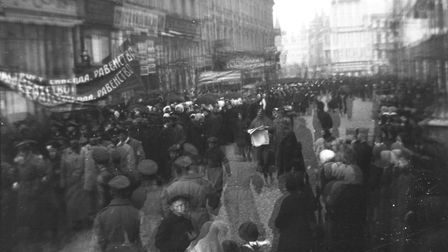 History in the making: Soldiers and civilians march in the streets of Petrograd in 1917; photo by Ai