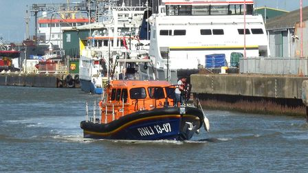 The relief Lowestoft Lifeboat 'Reg' returning from a previous rescue. Picture: Mick Howes