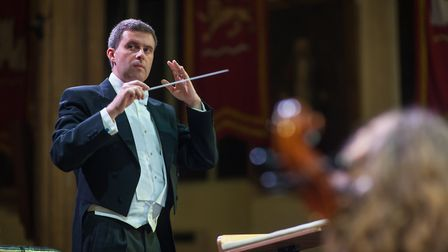 Matthew Andrews conducting Norwich Philharmonic Orchestra at St Andrews Hall. Photo: Bill Smith