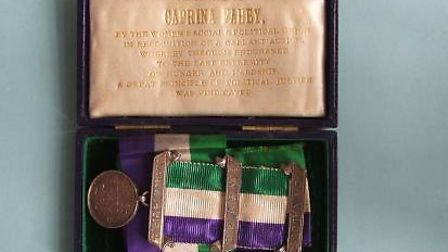 Suffragette Caprina Fahey's Women's Social and Political Union (WSPU) medal, which is in Norfolk Mus