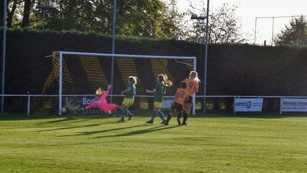 Norwich City Ladies' Fiona Coombes outstretched hand turns the ball onto the post. Picture: Brian Co