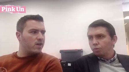 David Freezer, left, and Paddy Davitt discuss Norwich City's pre-match press conference ahead of Tue