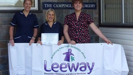 The three staff members from Campingland Surgery skydived from 13,000ft for charity. Picture: Leeway