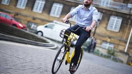Launch of ofo bikes in Norwich. Reporter Jake Massey riding one of the bikes.Picture: ANTONY KELLY