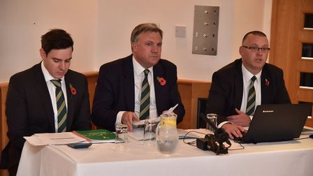 Chairman of NCFC Ed Balls, managing director Steve Stone and finance director Ben Dack present the N