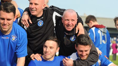 The glory days...Micky Chapman and Ady Gallagher celebrate promotion from the Ryman League Premier i