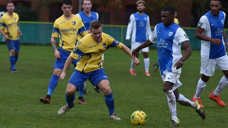 Norwich United, pictured in action against Barking on Saturday, were at Bury Town on Tuesday evening