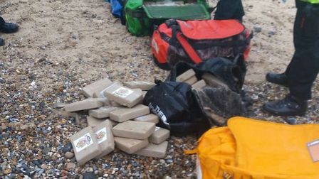 The bags of cocaine seized from the beach