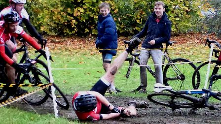 It was slippery in the Vets race at the West Suffolk Wheelers cyclo-cross. Picture: Fergus Muir