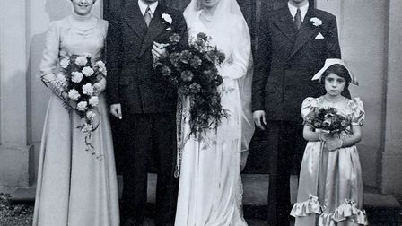 Allan Simpson and his wife Pat on their wedding day. The couple celebrated their 65th wedding annive