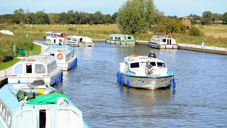 Hire boats on the the River Ant at Ludham Bridge. Picture: James Bass