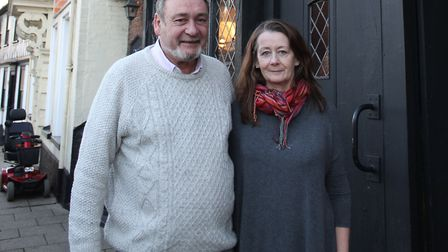 Publican Grayam Fox and his partner Fiona Cawley outside the Cross Keys Inn, Wymondham. Picture: Sou