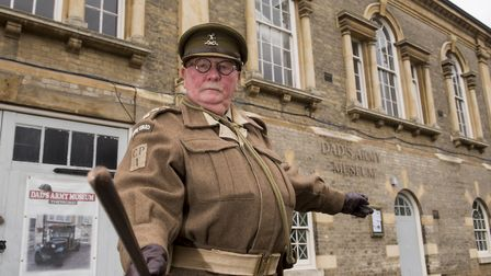 Captain Wainwaring (Mick Whitman) outside the Dad's Army Museum in Thetford. Picture: NICK BUTCHER