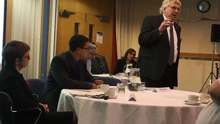 Norfolk County Council roadshow. Left to right: MD Wendy Thomson, host Nick Conrad and leader Cliff