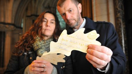 Holding their oak leaf for Jamie Butcher, mother Tina and stepfather Steve Green at World Remebrance