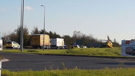 The scene of the crash on the A17 near Boston where a Norfolk couple were killed. Picture Lincolnshi