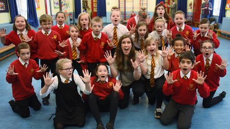 Lynsey Docherty, opera practitioner, with the children at Valley Primary School rehearsing their ope