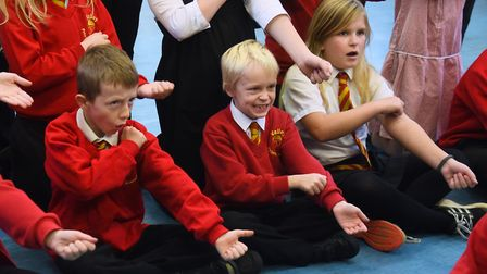 Kierran West, centre, who plays Figaro, at Valley Primary School during rehearsals of their opera, T