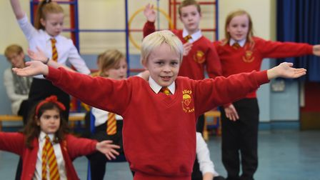 Kierran West who plays Figaro, at Valley Primary School during rehearsals of their opera, The Barber