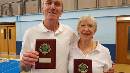Over 55's Pairs Qualifier winners John Jarvis and Jenny Walker. Picture: Teresa Goldsmith