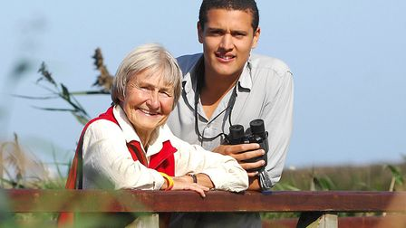 Nick Conrad pictured with his grandmother Audrey Brayne on an outing to Cley Visitors Centre in 2009