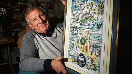 David Freeman, who witnessed the Christmas Island nuclear bomb test. Pictured with an illustrated me