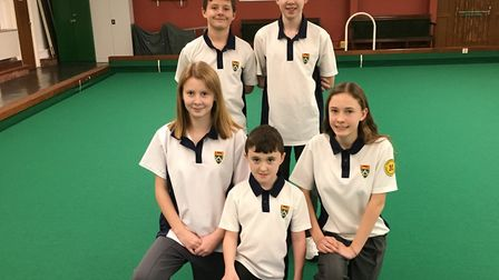 Youngsters on a roll. Front row, left to right: Shannon Tucker, Oliver Smerdon and Evie Scott. Back