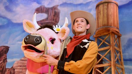 David Burilin as Jack and Daisy the Cow from Norwich Theatre Royal's 2016 pantomime Jack and the Bea