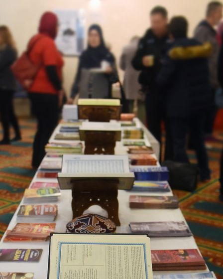 The Quran open for visitors at the Islamic Centre Mosque open day. Picture: DENISE BRADLEY