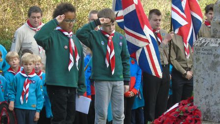 Wreaths being laid at the Hethersett Armistice Day commemorations. Picture: PETER STEWARD