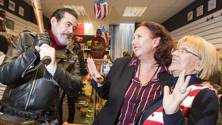 Negan lookalike from TV show The Walking Dead opens the new 'I Just Wanna Candy' sweet shop in Marke
