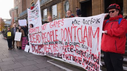 The protest about cuts that affect disabled people at the City Hall. Picture: DENISE BRADLEY