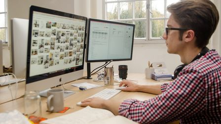 Taylor Gathercole, founder of marketing agency Fox Studio, in its office at Whitespace, Norwich. The