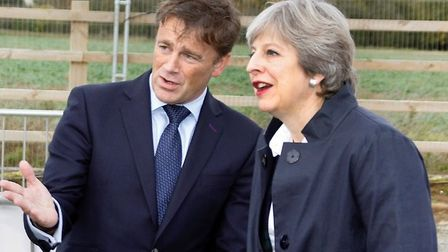 Saul Humphrey with prime minister Theresa May during her visit to Norwich. Picture: Morgan Sindall.