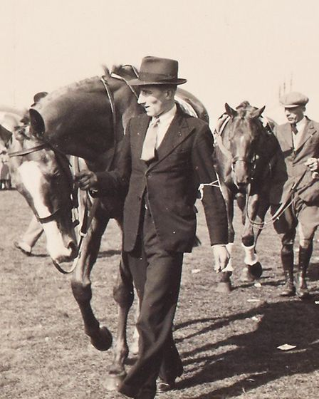 Fakenham races - leading horses from the paddock in 1938. Photo: Norfolk County Council www.picture.