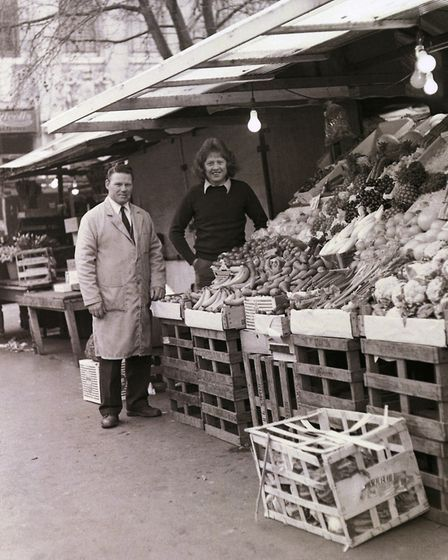 Norwich Market greengrocers stall in the 1970s. Photo: Tony Skipper/Norfolk County Council www.pictu