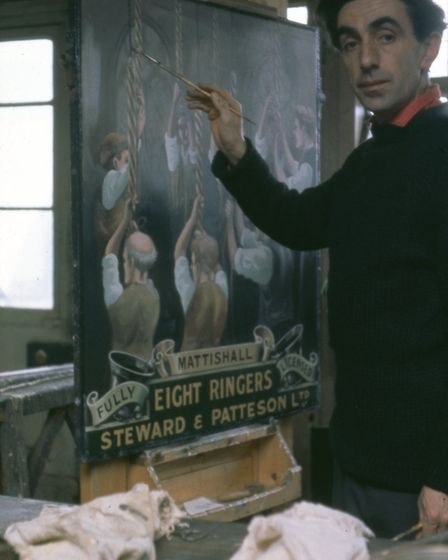 Steward and Patteson's sign writer Ron at work,1960s. Photo: Alan Bolingbroke/Norfolk County Council