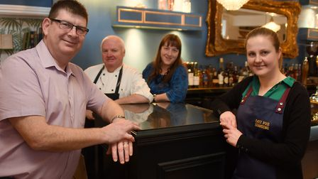 Owner and general manager, Darren Fennah, left; head chef Andy Dyas; Belinda Parker, bar manager; an