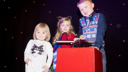 Heston Wymer, Jenna Foulkes and Lily Greatrex at the Castle Mall official Christmas Light switch-on