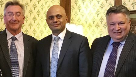Ray Herring, leader of Suffolk Coastal, with Sajid Javid, secretary of state for communities and loc