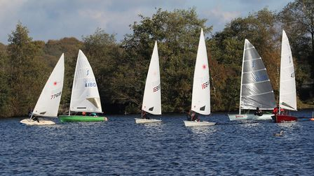 Tight midfleet racing at Rollesby. Picture: Kevin Davidson