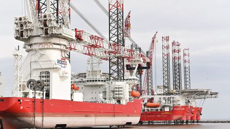 Offshore wind farms have led to new investment in Great Yarmouth. Pictured is the Seajacks vessel Sc