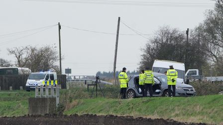 Police at the scene of a fatal RTC, Black Drove, Wisbech Thursday, November 9. Picture by Terry Har