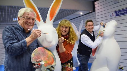 Artists get ready to transform some of the GoGoHares with their designs at the shop in the Castle Ma