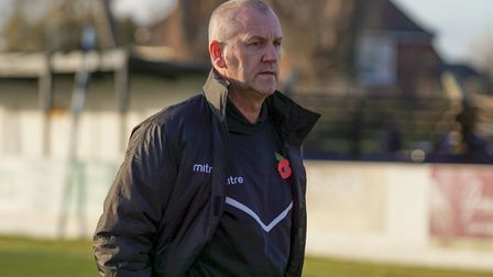 Dale Brooks celebrated his first win in sole charge of Lowestoft against Merstham. Picture: Shirley