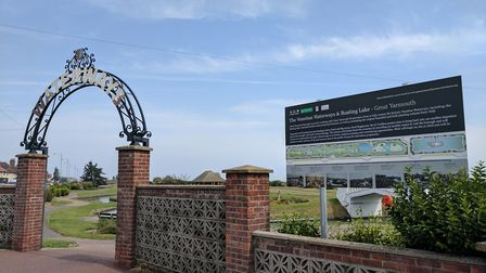 A sign has been erected outside the Waterways in Great Yarmouth outlining the planned renovation wor